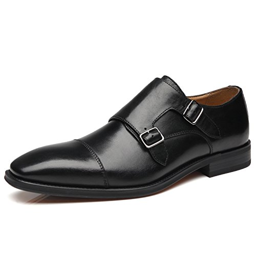 La Milano Mens Double Monk Strap Slip on Loafer Cap Toe Leather Oxford Formal Business Casual Comfortable Dress Shoes for Men Black (Black Leather Slip On Shoes For Men)