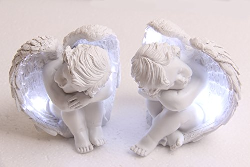 Baby Cherub (Sleepy Time Little Angel With Light Cupid Garden Statue Home Decor Cherub Statue Baby Sculpture Figurine Set of 2)