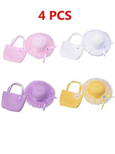 Jiuhexu Kids Straw Sun Hat Handbag Sets Children Beach Caps Prop Outfit 9Colors (White+Purple+Pink+Yellow)