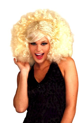 Forum Novelties Women's Funky Pop Afro Costume Wig, Blonde, One Size (Curly Blonde Costume Wig)