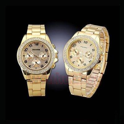 Diamantes de imitación de cristal de los hombres de oro de tono de mirada del reloj de pulsera Relojes de enlace con el Metal de la correa: Amazon.es: ...