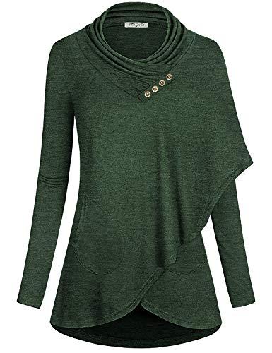 SeSe Code Long Sleeve Shirt Women Ladies Fashion Tops Draped Neck Soft Surroundings Clothing Knit Elastic Loose Fitting Petite Tunic...