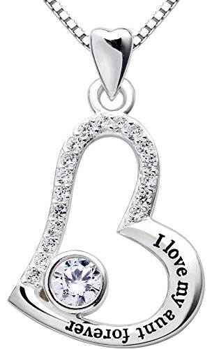 ALOV Jewelry Sterling Silver I Love My Aunt Forever Love Heart Cubic Zirconia Pendant Necklace