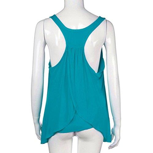 FNKDOR Mujeres más tamaño S-5XL O cuello sin mangas Ruched recolectó chaleco Azul