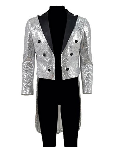 [Xiao Maomi Mens Handsome Sequins Tuxedo Evening Party Suits Cosplay Vintage Tailcoat (XS, Sliver)] (Sequin Tailcoat Costume)
