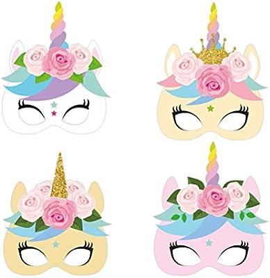 Amazon.com: Máscara de papel de unicornio Amosfun de colores ...