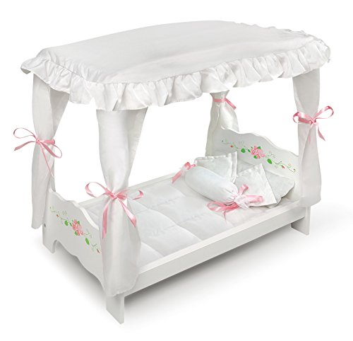 Badger Basket White Rose Doll Canopy Bed (fits American Girl dolls)