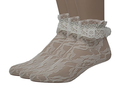 EMEM Apparel Women's Ladies Lace Anklet Ankle Quarter Socks Stockings with Ruffle White 9-11 3-Pack