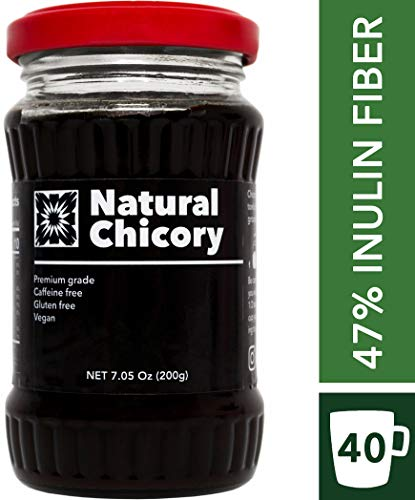 - Natural Chicory Root Coffee - Coffee Substitute Caffeine Free - 2.4G INULIN PER SERVING - Inulin fiber content over 47% - 7oz/200g (40-60 servings) Organic roasted chicory (Chicory)