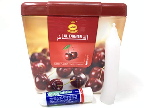 1 Kg. Al Fakher Shisha Molasses - Non Tobacco Cherry Flavour Hookah Water Pipe Sold by SuperStore77 with Trademark Candle and Vapor Inhaler (Best Al Fakher Flavors)
