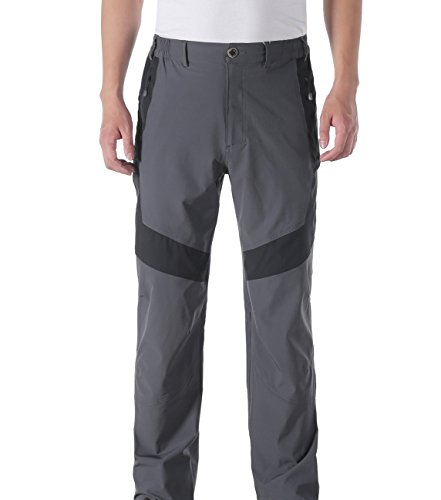 Makino Men's Long Quick Dry Hiking Pants With Waistband W32/L34 Dark Grey
