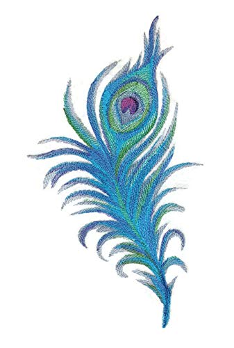 Custom and Unique Fancy Feather Collection[PeacockFeatherinWatercolor] Embroidered Iron on/Sew patch [11.77