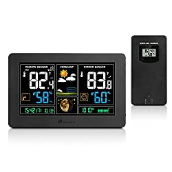 Wireless Weather Station, Houzetek Indoor Outdoor Color Forecast Station with Sensor, Home Alarm Clock with Temperature Alerts, Charging USB Port, Moon Phase