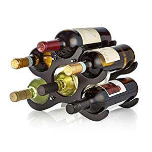 AdirHome Wooden Wine Rack (Cherry/Espresso/White) Finish – Easy to Assemble 6 Stackable Bottles Storage Shelves Stand Display for Bar Wine Cellar Basement Pantry