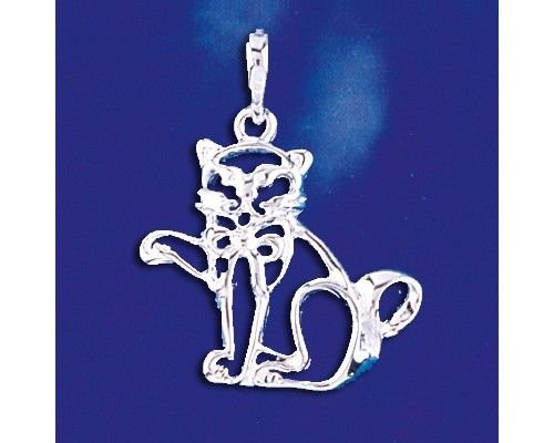 Sterling Silver Cat Pendant Kitten Pussycat Kitty Charm Solid 925 Silver - Silver Jewelry Accessories Key Chain Bracelet Necklace Pendants