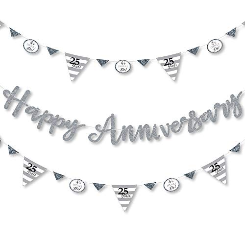 Big Dot of Happiness We Still Do - 25th Wedding Anniversary - Anniversary Party Letter Banner Decoration - 36 Banner Cutouts and Happy Anniversary Banner Letters ()