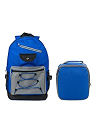 Slim Travel and School Tech Backpack and Insulated Lunch Bag Set-Royal Blue