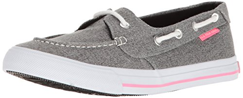 U.S. Polo Assn.(Women's) Women's Stacy-Ln Boat Shoe, Darkgrey Wash/Fuchsia, 7 M US