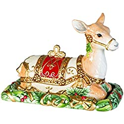 Fitz and Floyd 49-533 Yuletide Holiday Ceramic Reindeer Covered Butter, Green