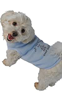 Doggie Tank Top, Rub My Belly for Good Luck, Blue, Large