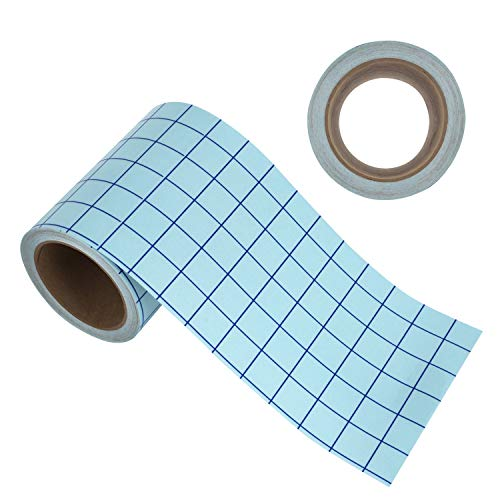 Angel Crafts Transfer Paper Tape: Craft Transfer Tape for Vinyl Application with Blue Grid Lines - Self Adhesive Transfer Paper Roll Compatible with Cricut, Silhouette Cameo - 6 Inch by 50 Feet, Clear
