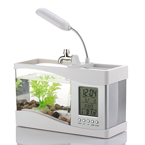 Flexzion-USB-Desktop-Aquarium-Mini-Fish-Tank-with-Running-Water-LCD-Time-Clock-Alarm-Colorful-LED-Lamp-Light-Calendar-Holds-15-Quart-for-Home-Office-Decor