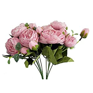 AntranStore Artificial 5 Heads Roses Fake Silk Flowers,Artificial Flower Rose, Artificial Roses for Home Wedding Birthday Party Decoration Fake Flowers,Pack of 2 (Pink) 55
