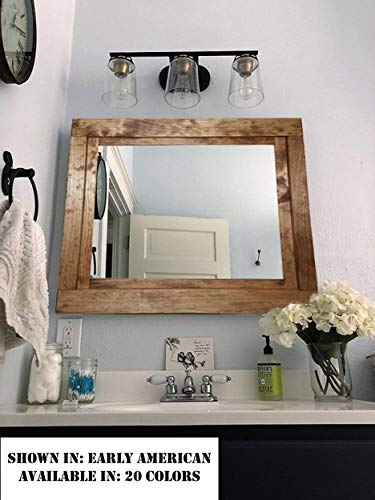 Wood Frame Mirror - Farmhouse Large Framed Mirror Available in Five Sizes and 20 Stain Colors: Shown in Early American- Large Wall Mirror – Decor for Living Room - Mirror Decor