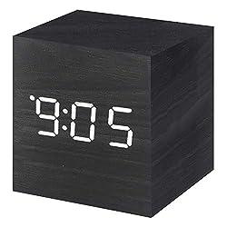 Vech Digital Alarm Clock Wooden LED Light, Mini Modern Cube Desk Clocks, 3 Dual Plus Alarm, Voice Sound Control Displays Time Date Temperature Kids, Bedroom, Home, Dormitory, Travel Clock,(Black)