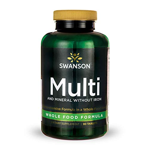 Swanson Multi and Mineral Without Iron Multimineral Multivitamin Health Supplement Iron-Free, Whole-Food Formula 90 Tablets (Tabs)