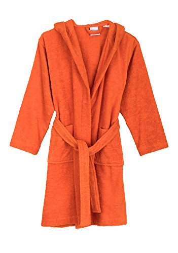 TowelSelections Big Boys' Robe, Kids Hooded Cotton Terry Bathrobe Cover-up Size 8 Carrot (Orange Robe)