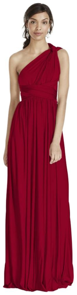 David's Bridal Versa Convertible Long Jersey Bridesmaid Dress Style W10502, Apple, M