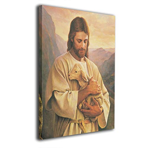 JAWANNA Jesus Christ Lord Holding A Lamb in Mountain Oil Canvas Paintings Abstract Wall Art Canvas Home Decor Classical Pictures for Bathroom Ready to Hang (Inner Framed) ()