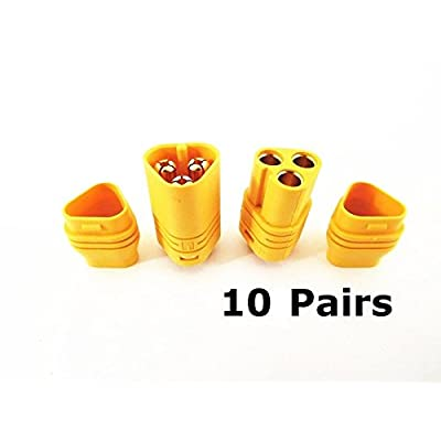 WST 10 Pairs MT60 3.5mm 3-wire 3-pole Bullet Connector Plug Set for RC ESC to Motor 10 Male Connectors & 10 Female Connectors: Toys & Games