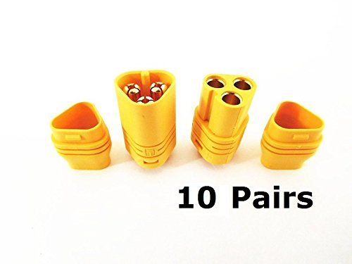 - 10 Pairs MT60 3.5mm 3-wire 3-pole Bullet Connector Plug Set for RC ESC to Motor 10 Male Connectors & 10 Female Connectors