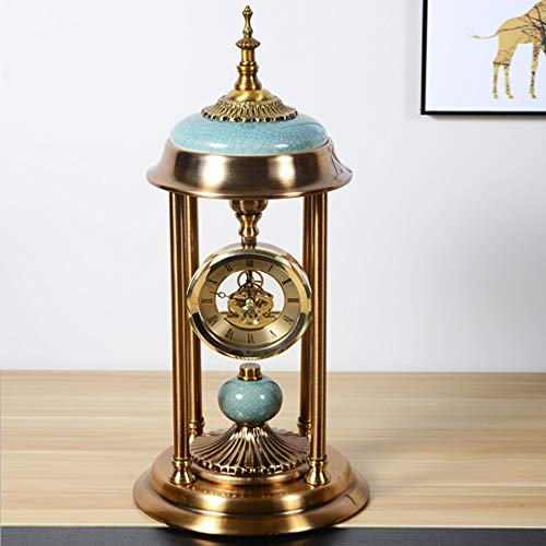 (Desk Clock Roman Numerals Retro Style Pure Copper European Style Living Room Creative Clock Bedroom Desktop Desktop Decoration Metal Clock)