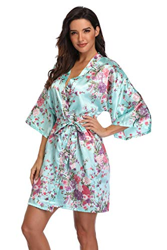 Women's Floral Bride Bridesmaids Robe Satin Wedding Kimono Bridal Dressing Gown Sleepwear,S/M