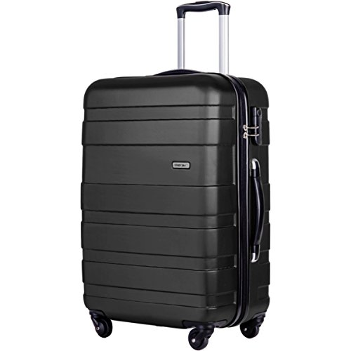 Merax Afuture 20 24 28 inch Luggage Lightweight Spinner Suitcase (28-Consignment, Black)