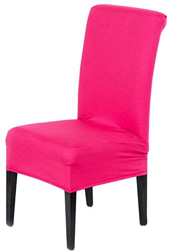 Stretch Polyester Spandex Dining Chair Cover for Wedding Banquet Party Many Colors Set of 2(Pink) (Dining Set Banquet)
