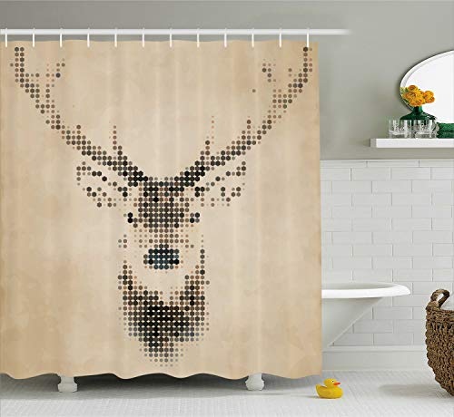 (Ambesonne Deer Shower Curtain, Retro Style Deer Portrait with Digital Dots and Geometric Circle Vintage Graphic, Cloth Fabric Bathroom Decor Set with Hooks, 75