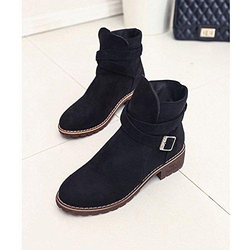 Zapatos Casual Verde botas puntera Polar botas redonda combate Botines Mujer Otoño para hebilla negro ejército Black talón de de Invierno botines Chunky HxUqHr