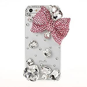 SJTDIY 3D Pink Bow and Diamond with Rhinestone Pattern Plastic Case for iPhone 5/5S