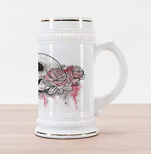 Ambesonne Day of the Dead Beer Stein Mug, Print of Skull Dead with Romantic Roses Celebration Day, Traditional Style Decorative Printed Ceramic Large Beer Mug Stein, White Pale Pink Black