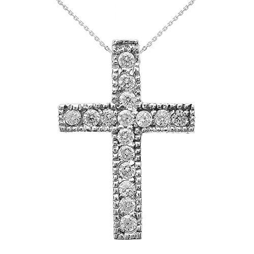 Collier Femme Pendentif 925 Argent Fin Milgrain Bordé Diamant Croix (Petit) (Livré avec une 45cm Chaîne)