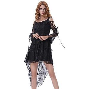Belle Poque Women Vintage Black Steampunk Gothic Victorian Lace Dress