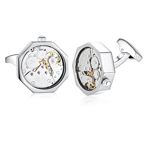 Honey Bear Cufflinks for Mens - Working Watch Movement Wedding Business Gift (Silver) from Honey Bear
