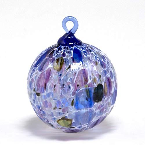 - 2018 Blown Glass Ornament. Sun Catcher. Purple and Blue with White Powder. Artist Dehanna Jones.