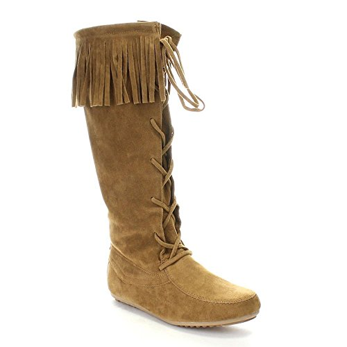 Forever Baylee-09 Women's Fashion Fringe Lace Up Knee High Boots,Tan,7 (Indian Boots)