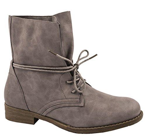 Elara Damen Stiefelette | Biker Boots | Trendy Lederoptik | Chunkyrayan Grau  3