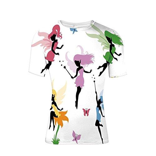 (T-Shirt for Men,Fairies Flying with Butterflies Girls Princess,3D Print)
